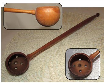 Vintage Long Handmade Wooden Strainer Spoon with Holes, wood, Olive Spoon
