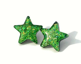 Green Star Earrings Glitter Star Jewelry Holographic Iridescent Twinkle Star Statement Surgical Steel Posts