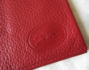 Vintage french card paper holder LONGCHAMP, Red Leather Wallet, 1980s, France, Paris, Luxe, Fashion, Porte carte papiers