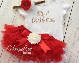 1st Christmas Set GOLD or SILVER bodysuit, red ivory flower glitter headband bow, tutu skirt bloomers infant baby girl First Santa Outfit