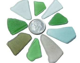 9-Piece Lot of Craft-Quality Sea Glass in Ocean Colors