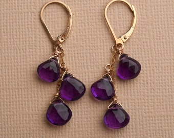 Amethyst Earrings, February Birthstone, Gemstone Earrings, Purple Gemstone, Purple Amethyst, Dangle Earring