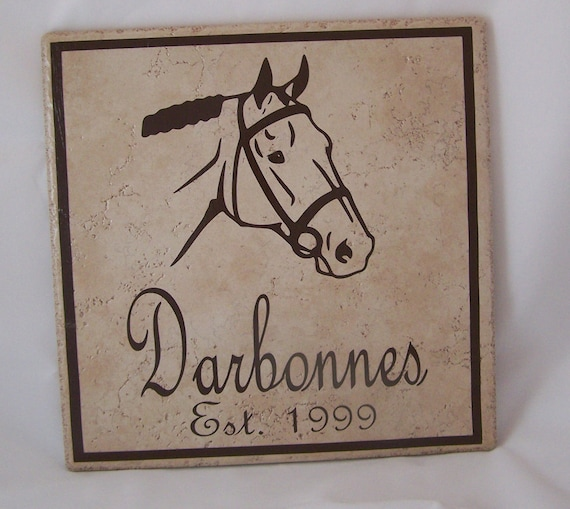 Ceramic Tile Name Plate with Horse Last Name Established