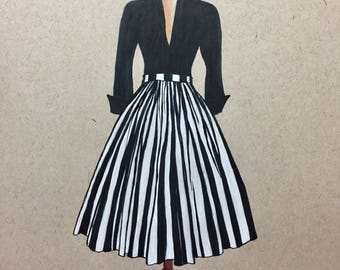 Fashion Painting.Vintage fashion.Vintage Dress.1950s Fashion.Fashion art.Gifts for her.Gifts for women.Mid Century Fashion.Fashion Sketch.