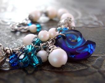 Swarovski Bermuda Blue Cluster Bracelet - Antique Silver Iridescent White Pearl Sea Shell Beach Boho Crystal Ocean Jewelry Gift For Her