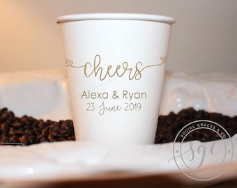 Cheers Wedding | Customizable Paper Cups | Engagement Bridal Parties, Weddings or Shower | social graces and Co