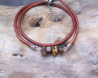Bracelet ethnic, Bohemian, two wraps of leather, stainless steel and Tiger's eye