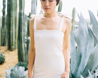 Tied Shoulder Dress in White by TANROH womenswear/ women's fashion/women's clothing/little white dress