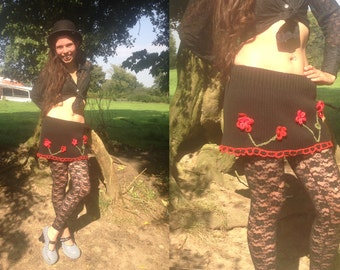 Upcycled Wool Jumper Skirt with Crochet Red Poppies