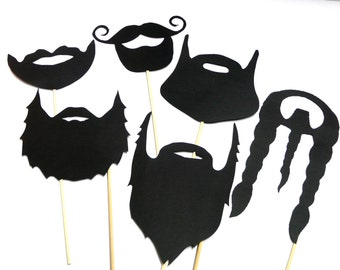 Photo Booth Props - Set of 6 Black Beards Photo Booth Props
