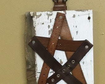 Leather Belts~Star~Upcycle~Rustic Wall Art~Reclaimed~Chippy~Shabby~Country~Decor~Belt Buckle Hanger~Unique~Upcycle~