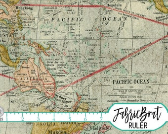 ANTIQUE MAP Fabric by the Yard Fat Quarter Tim Holtz Fabric Vintage Map Cartography Quilting Fabric Apparel Fabric 100% Cotton Fabric t1-32