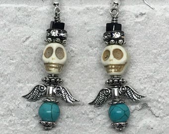 Winged Skull earrings, turquoise earrings, skulls, wings, blue earrings