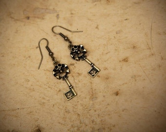 SALE 50% off- in Stock- Steampunk inspired skull skeleton key earrings set