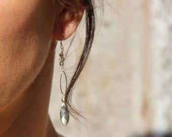 Grade AAA Labradorite earrings on Sterling Silver