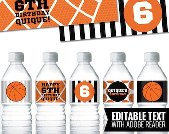 Basketball Water Bottle Labels. Sports Party Labels. Printable Birthday Bottle Wrappers. DIY Wraps. Basketball Team Labels. Kids Decor