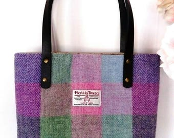 Harris Tweed Hand Made Firm Hand Bag in Pale Pink and Lilac Block with Spotty Linen Lining, Internal Zip Pocket, Magnetic Snap & PU Handles