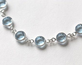Aquamarine Bracelet, March Birthstone Bracelet, Aquamarine Jewelry, Silver, March Birthstone Jewelry, Light Pale Blue Crystal Bracelet