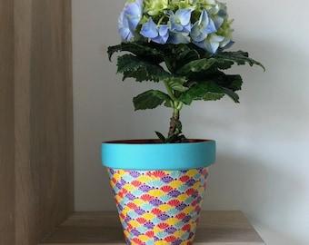 Clay Flowerpot, flowerpot with paper, Pot Washi, home decor, flowerpots, Cactus flowerpot, Cubremaceta, flowerpots, pots