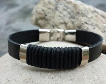 FREE SHIPPING-Mens Bracelet,Mens Leather Bracelet,Bracelet For Men,Leather Bracelet,Mens Cuff Bracelet,Bangle Bracelet,Stainless Steel Clasp