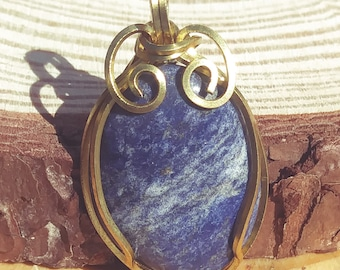 OOAK Small Lapis Lazuli and Gold Wire Wrapped Pendant