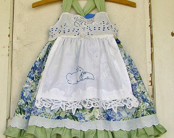 Tea Party Dress Blues Vintage Floral Hand Embroidered Apron CUSTOMIZED Toddler Girls Reverse Knot Dress