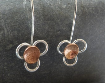 Daisy flower drop earrings: Handmade, sterling silver and copper