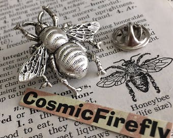 Silver Tie Tack Bee Tie Tack Big Bumble Bee Pin Men's Accessories Men's Gifts Gothic Victorian Tie Tack Steampunk Tie Tack Big Bee Tie Tac