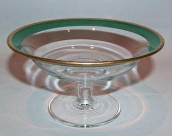 8101: Antique Art Deco Green Enamel & Gold Rim Compote Bowl Czechoslovakia Bohemian Glass At Vintageway Furniture
