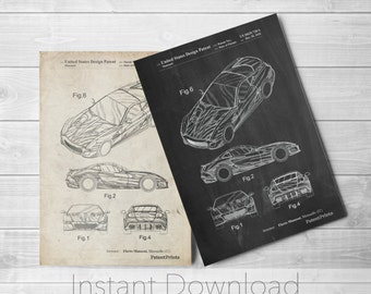 Sports Car Printables, Exotic Car Poster, Automotive Art, Teen Boy Room, PP0355