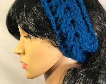 Cabled Crochet Earwarmer - Blue
