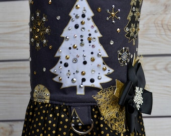 Dog Harness Vest - Winter Dog Dress - Snowflakes - Christmas Tree - Black Gold - Christmas - Small Dog - Large Dog - Gifts for Dogs