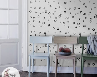 Simple Dots wall decor, Scandinavian wall mural, Simple removable wallpaper, Peel and stick, Removable, Reusable, Repositionable MAF034