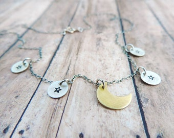 Moon and Stars Minimalist Necklace in Brass and Sterling Silver - Dainty Celestial Jewelry