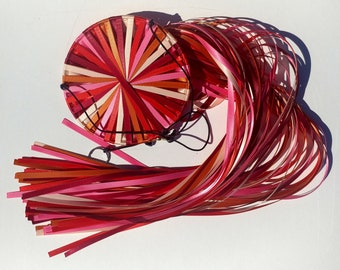 Rose Garden! Windsock of Double-Faced Satin Ribbon with colors Burnt Sienna, Wine, Red, Hot Pink, and Cream