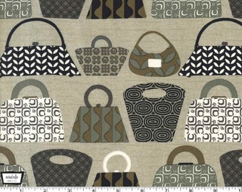 Purses Galore - Tan Graphite - Cotton Print Fabric from Michael Miller