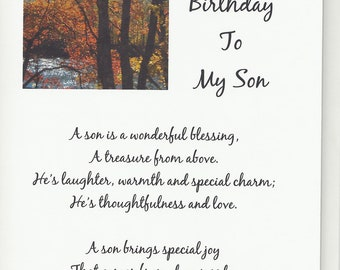 Handmade Greeting Card - Birthday - Son -  Laser printed