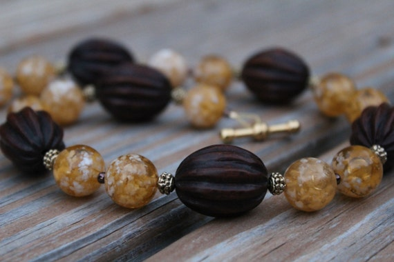 Short Brown Beaded Necklace, Yellow Boho Necklace, Chunky Bead Jewelry, Earth Tone Bead Necklace