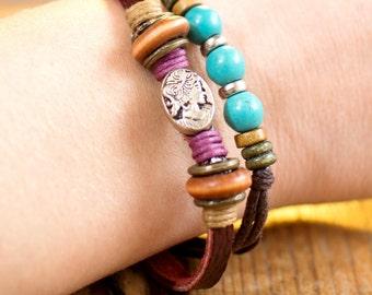 Bracelet en cuir pour les femmes / / Bracelet Boho femmes / / Bracelet femme / / Bracelet en cuir de femmes / / Bracelet Hippie pour femme