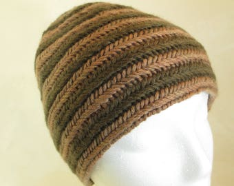 Nalbinding Hat - Natural Dye Wool Beanie - Walnut and Willow Bark - Nordic Style - WN101729 - Adult Medium/Large