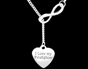 Firefighter Wife Gift Necklace, Infinity I Love My Firefighter Wife Girlfriend Y Lariat Necklace