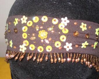 02-turban headband with Brown Pearl Earrings