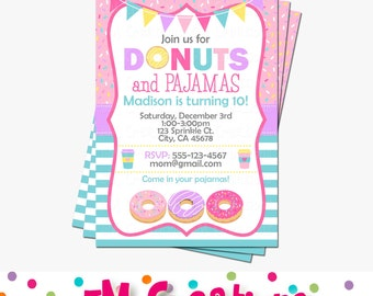 Donut Party Invitation - Doughnut Birthday Invitations - Donut and Pajamas Digital Printable Invitation - Girl Birthday Party Aqua Pink