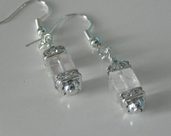 Real Gemstone Rose Quartz Cube Drop Ear-rings