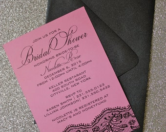 Pink and Black Bridal Shower Invitation - black lace border - choose your colors!