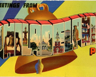 Philadelphia Pennsylvania Large Letter Vintage Postcard