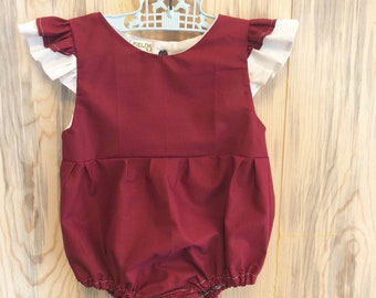 One year old girl birthday outfit Boho Baby romper bodysuit 12 month ruffle flutter sleeve baby girl clothes burgundy maroon spring deep red