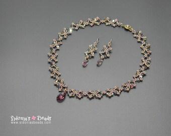 Necklace & Earrings Pattern TUTORIAL - Beaded Chain Necklace and Matching Earrings PATTERN - Butterfly Chain Necklace TUTORIAL