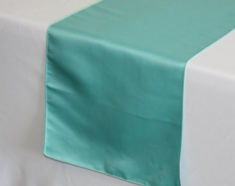 YCC Linen - Turquoise Lamour Satin Table Runner | Wedding Table Runner