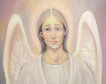 Archangel Anael original oil painting, angel of love oil painting, archangels spiritual painting, oil on canvas, oil paintings